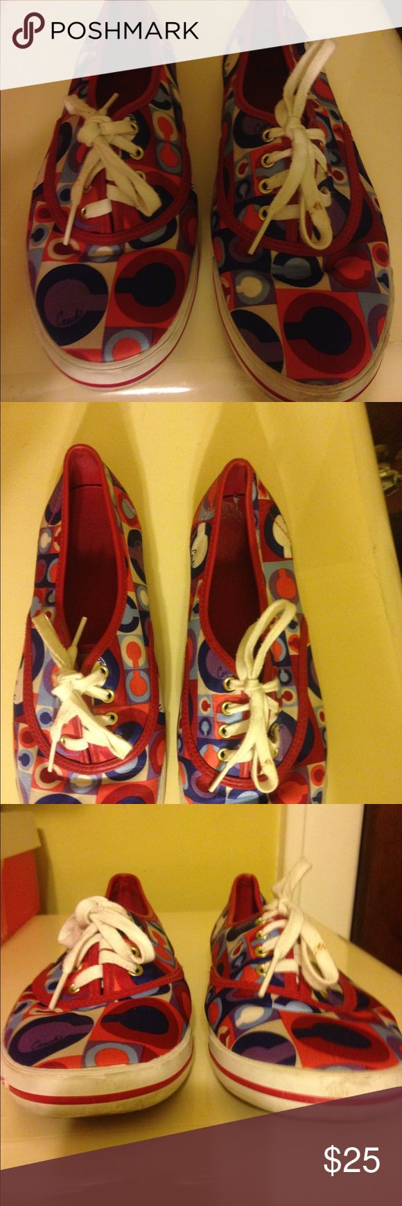 Authentic COACH tennis shoes Authentic COACH tennis shoes size 7.5 red white and blue colored great condition Coach Shoes Sneakers