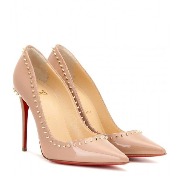 Christian Louboutin Anjalina 100 Patent Leather Pumps ($775) ❤ liked on Polyvore featuring shoes, pumps, heels, louboutin, beige, heel pump, patent shoes, beige patent leather shoes, patent pumps and christian louboutin pumps