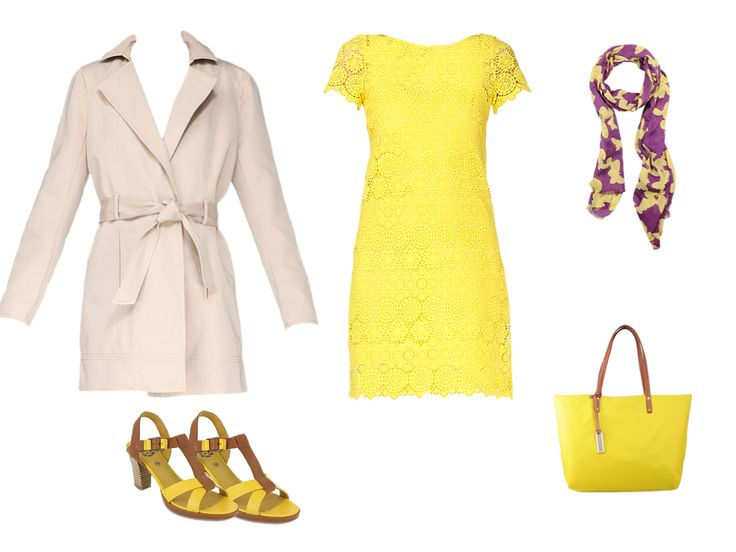 Working Girl : Grand sac Le Tanneur jaune, écharpe Lafayette Collection jaune et Sandale Kickers jaune
