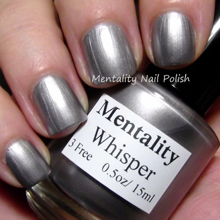 Mentality Nail Polish - Whisper, a silvered lavender metallic creme nail polish, dries to a satin finish.