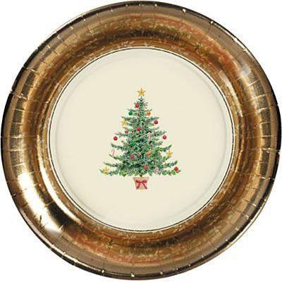 Clásico  victoriano en dorado Navidad        Ideal para festejar en tu trabajo.   vajilla descartable para 8 comensales en color dorado con diseño de árbol de Navidad.  8 platos de entrada 17.8 cm  16 servilletas 24.7 x 24.7 cm  8 vasos 266ml  20 tenedores  1 mantel 137 x 259 cm  arbol decorativo para pegar en la puerta o en pared 1.65 x 85 cm  2 adornos de arbolito 3D gliter 1,100 $U