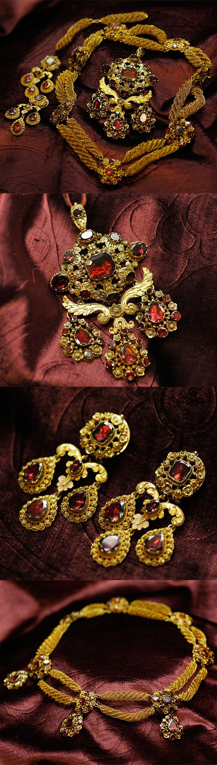 Garnet and gold parure, France, 1819-1838, comprising with a pendant, canbe worn as a brooch, a pair of earrings, a choker, garnets, 18k gold, with two spare chains