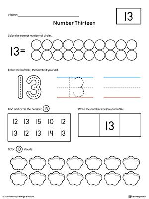 Number 13 Practice Worksheet Worksheet.Help your child practice counting, identifying, tracing, and writing number 1 with this printable worksheet.