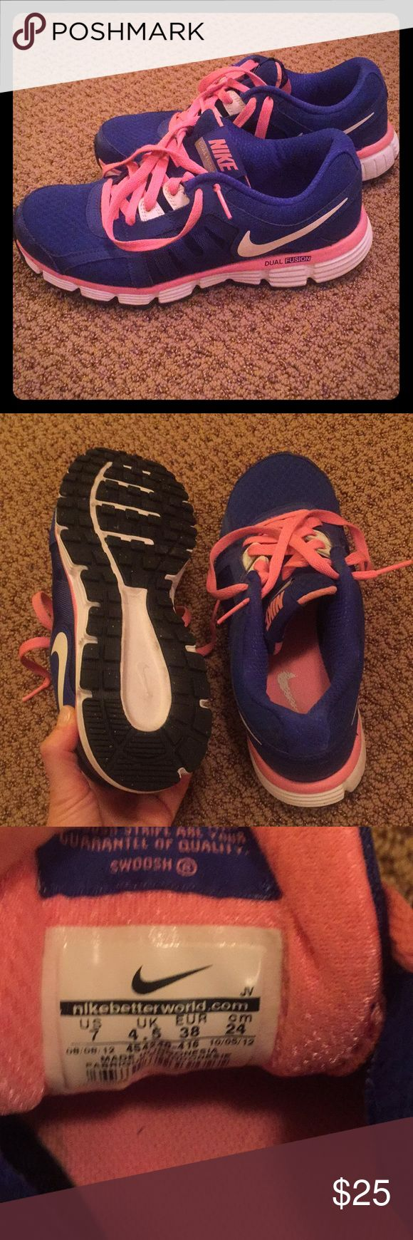 Nike Dual Fusion Running Shoe Size 7 Great looking and comfortable Running shoes, bright blue and pink. Nike Shoes Athletic Shoes