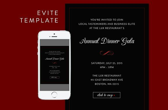 Formal Dinner Evite PSD Template by kaitlynrichert on @creativemarket