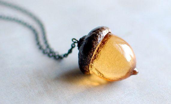 Amber Acorn Pendant