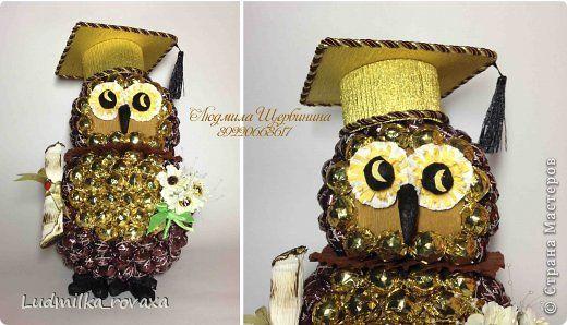"""Вот такой интересный совенок получился на день рождения в подарок девушке, которой нравятся совы :)   Идея не моя! Нашла картинку на просторах интернета, к сожалению не сохранила фото-оригинал, помню только то, что она была в каком-то интернет-магазине по сладостям :)  На эту совушку у меня ушло 1 кг конфет """"Озерский сувенир"""" фото 2"""