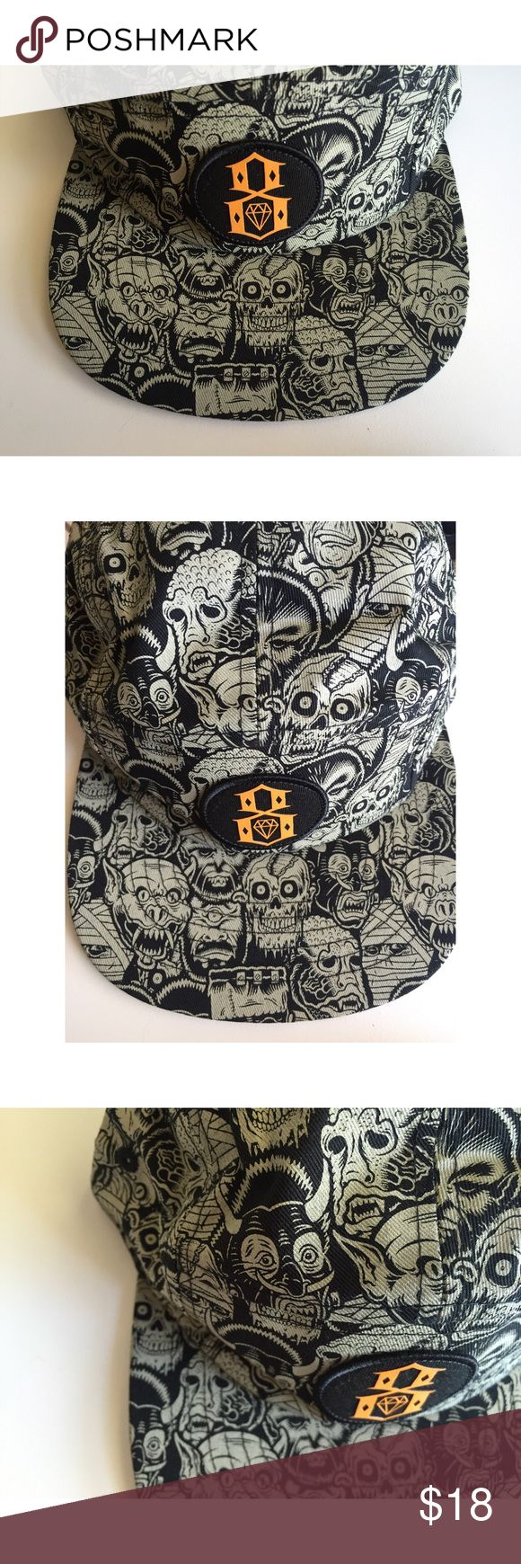 Brand New Rebel8 Hellaween Capsule 5-Panel Hat Brand new hat designed by Rebel8. 5-panel camper hat construction with adjustable plastic clasp closure strap back. Did not come with tags but item is new. Part of the Hellaween Capsule. Rebel 8 Accessories Hats