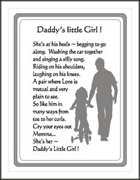 She's at his heels, begging to go along. Washing the car together and singing a silly song. Riding on his shoulders, laughing on his knees. A pair where love is mutual and very plain to see. So like him in many way from toe to her curls. Cry your eyes out Momma...she's her Daddy's Little Girl!  This will probably how it will be sadly.