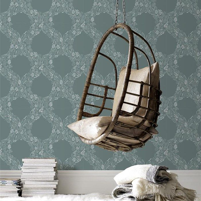 Cloe Blue / White Wallpaper by Graham and Brown