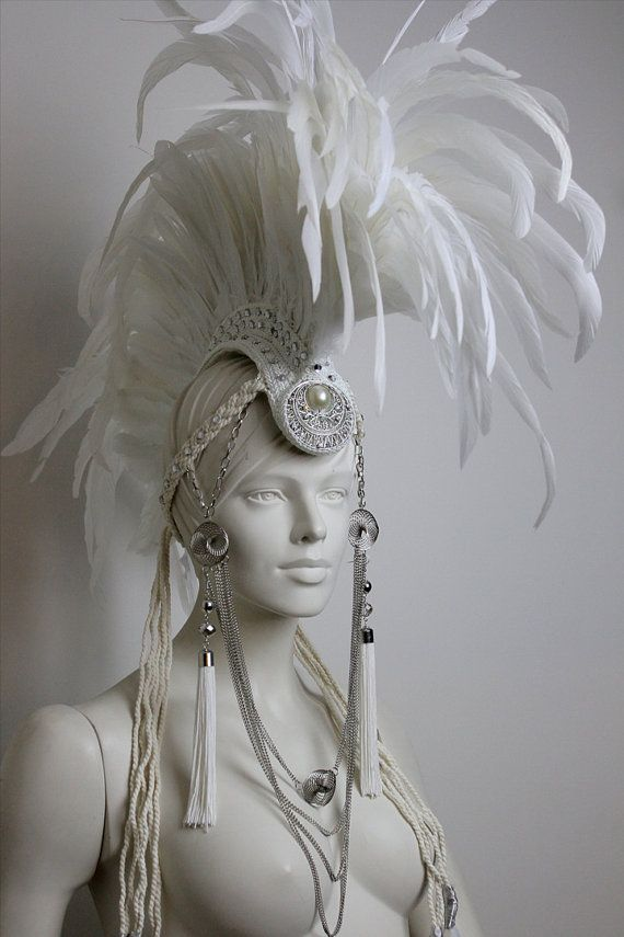White Diamond  Large White Feather Mohawk by TheHatterDesigns, $240.00    OO need to buy this.. halloween maybee