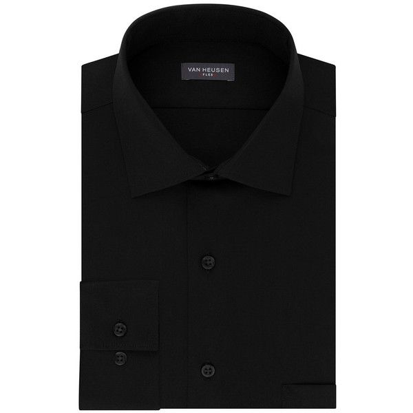 Big & Tall Van Heusen Flex-Collar Dress Shirt ($33) ❤ liked on Polyvore featuring men's fashion, men's clothing, men's shirts, men's dress shirts, black, mens high collar dress shirts, mens dress shirts, mens collared shirt, mens big and tall shirts and van heusen mens shirts