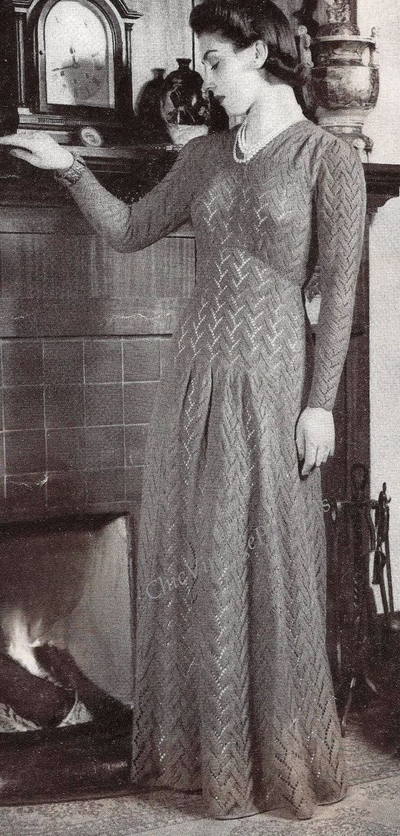 Knitted Dress ... 1940's Evening Dinner by ChicVintagePatterns