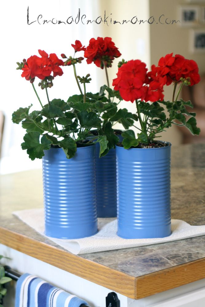 July 4th Centerpiece (apple juice cans, paint, geraniums) from Lemonade Makin' Mama