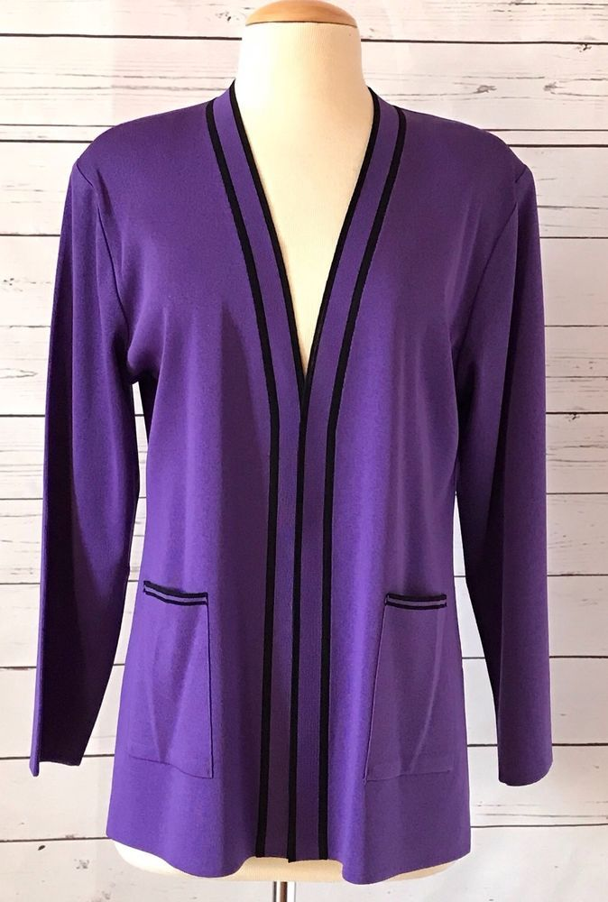 Exclusively Misook Purple Knit Jacket Size Petite Medium Pm Misook Knitjacket Knit Jacket Long Jackets Matching Top