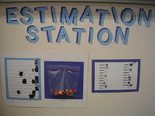 """Estimation Station: """"Each week the students get to estimate how many items are in the bag. They choose their number, write it next to their name and then cross it out on the 100 chart. On Friday we count how many items are in the bag and the closest guess gets to take the bag home."""""""