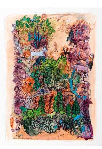 """Flora Langlois, WOODS, Mixed Media Frottage on Paper, 12 x 8 1/2""""Tory Folliard, Flora Langlois, Media Frottage, Years 10, Mixed Media, Magic Realism, Folliard Gallery"""