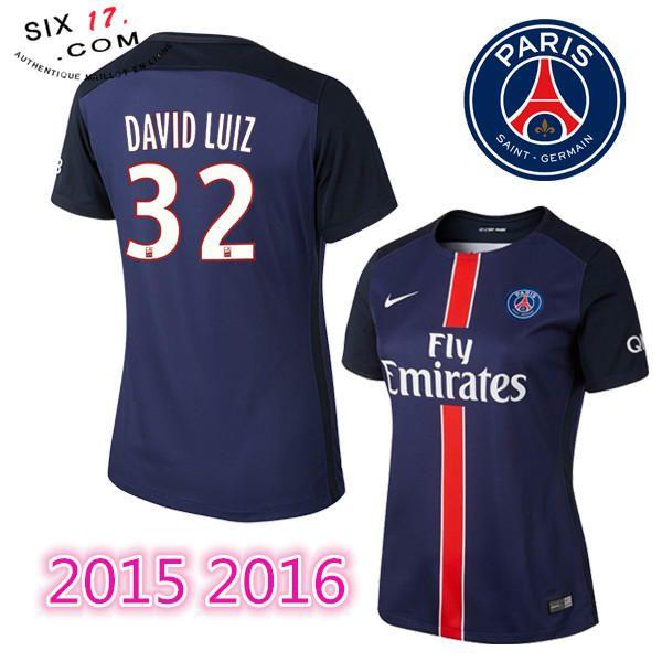 nouveau maillot psg femme 2015 2016 DAVID LUIZ Domicile bleu manche courte Thailande Pas Chére