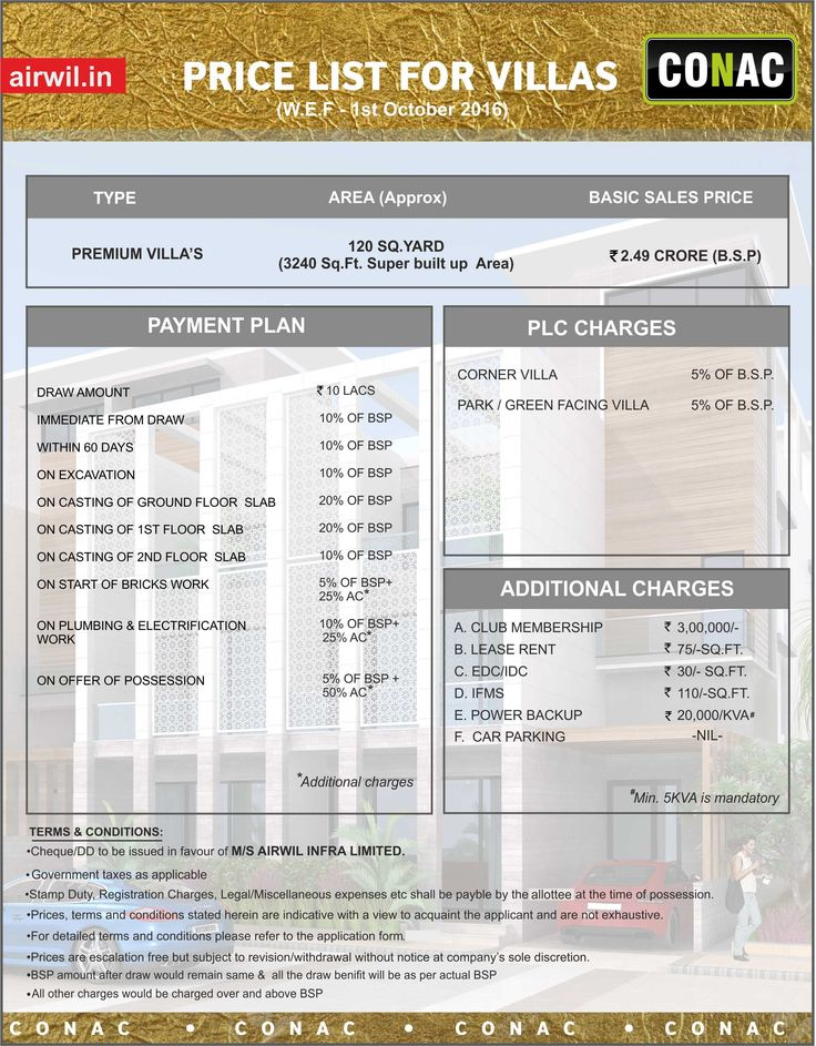 airwil conac price list