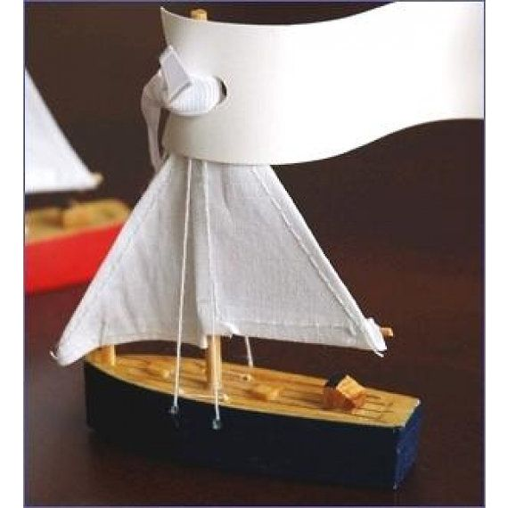 Wooden Sailboat Place Card Holder Navy Red by whitetulipboutique, $2.65