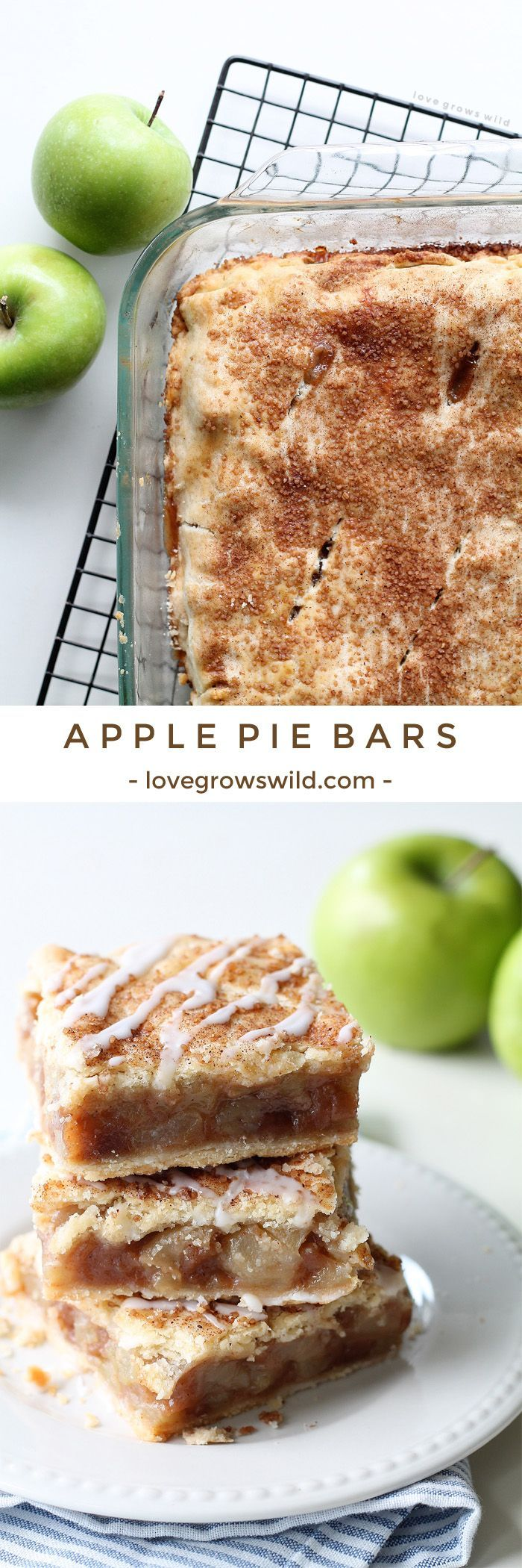 These Apple Pie Bars are the perfect handheld dessert and SO delicious! Made with a fresh apple filling, homemade crust, and sweet vanilla glaze! | http://LoveGrowsWild.com