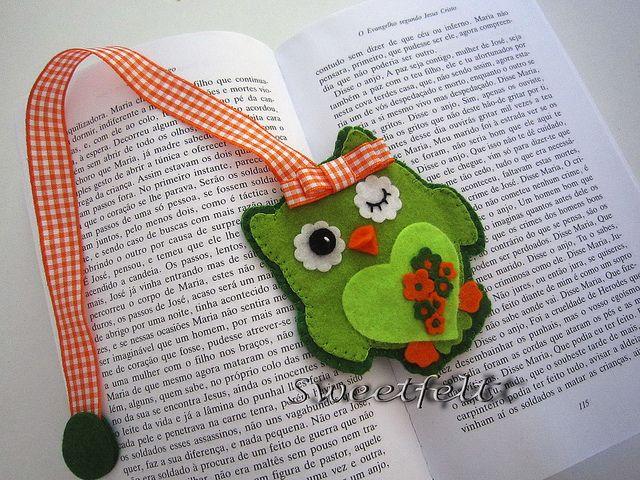 ♥♥♥  Marcador coruja ;) by sweetfelt  ideias em feltro, via Flickr