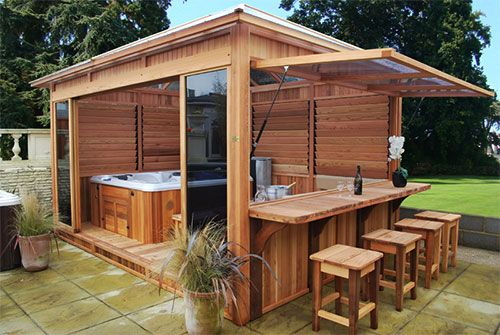 hot tub gazebo with bar and lift-up side.