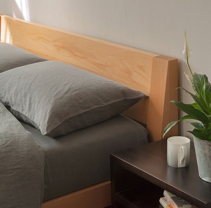 The Stylish Java Low Chunky Bed Is Perfect For Lofts Modern Design Has A Sloping Headboard Extra Comfort Solid Wood Made In Sheffield