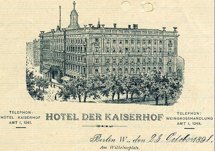 Hotel Kaiserhof Wilhelmplatz,Briefkopf aus dem Jahre 1898