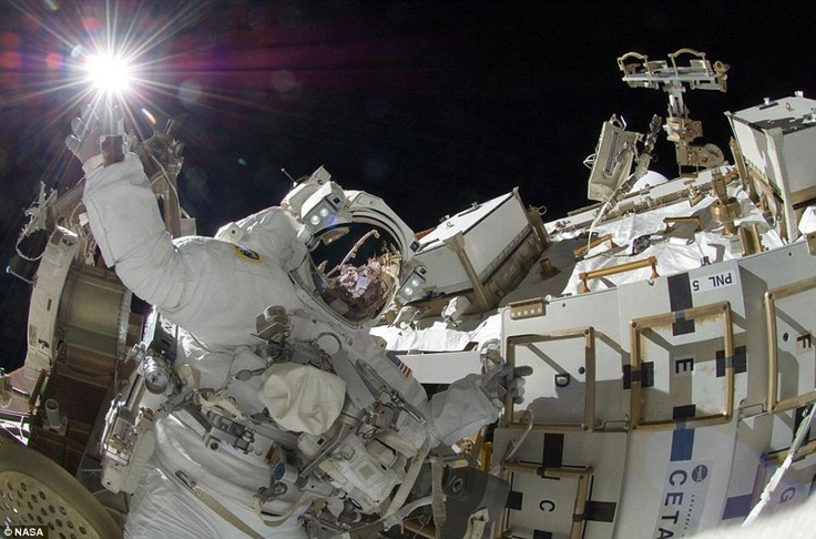 This spectacular shot of NASA astronaut Sunita Williams was recently snapped from space, as the flight engineer made routine repairs to the International Space Station.   Earlier this week two astronauts on board the ISS had a MacGyver moment when they made repairs using a 3 dollar toothbrush and saved around 100 billion dollars.