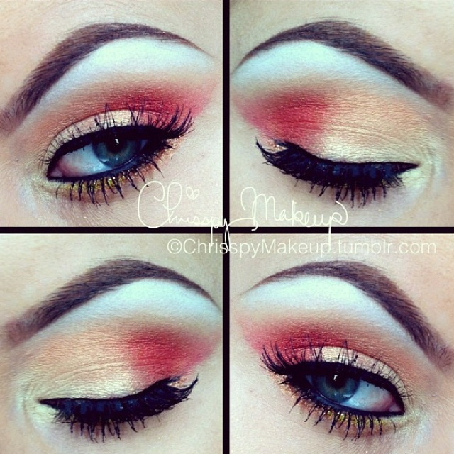 Red and gold eye makeup. Too scared to touch red eye ...