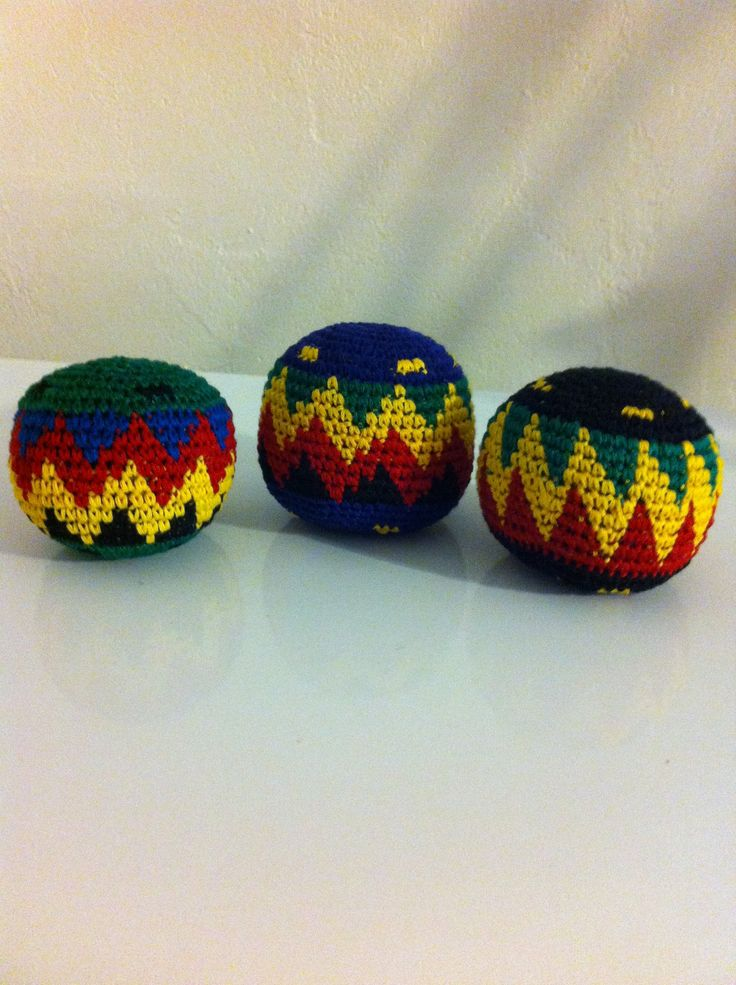 Set of 3 Hacky Sacks, Rasta Colors in Assorted Geometric Patterns. Cotton Crocheted Rasta Color Hacky Sack with Plastic Bead Fill in Assorted Geometric Patterns. Made in Guatemala. Size - 2 to 2-1/4 inch diameter ~ Weight 1 to 1-3/4 ounces. GUARANTEE - Quality and authenticity are guaranteed for all Hacky sacks purchased from us. Product, Shipping and Return First Class Shipping will all be refunded to you if you receive Hacky sacks of poor quality or not as described or similar to those...