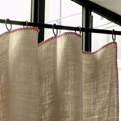 Linen curtain with blanket stitch. What about doing the blanket stitch with yarn for a bolder more textured look?  - from www.katyelliott.com