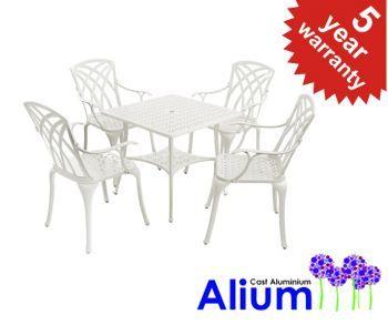 Alium™ Washington Cast Aluminium 4 Seater Square Garden Furniture Set