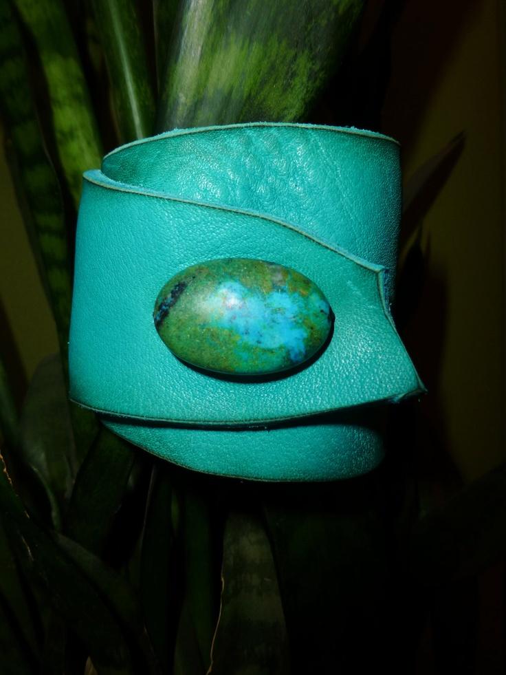 Turquoise Buffalo Hide Leather Wrist Cuff. $25.00, via Etsy.