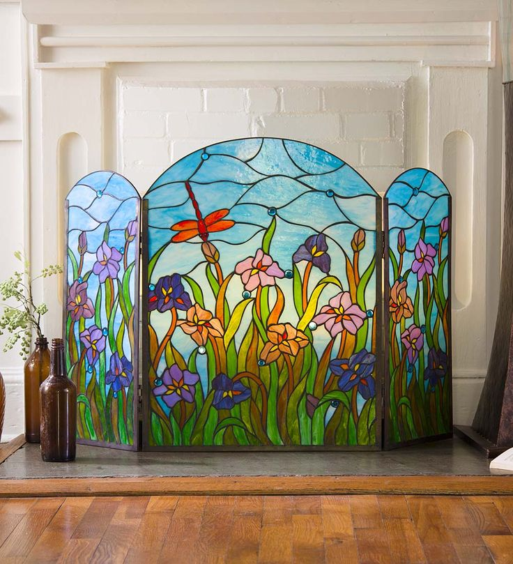 Stained Glass Dragonfly Fireplace Screen in Telephone Specials