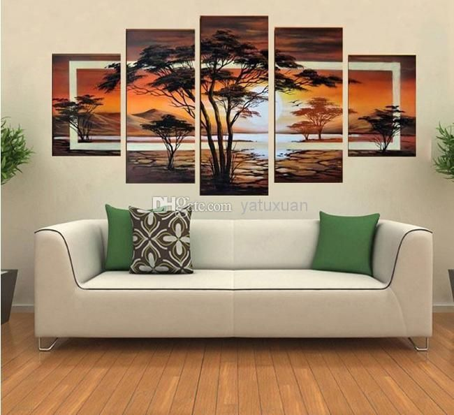 Hand painted oil the trees african sunrise landscape oil painting on canvas wall art