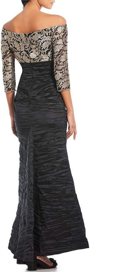 8fcdae53cc43 Alex Evenings Off-the-Shoulder Embroidered Empire Waist Dress  Shoulder  Evenings Alex