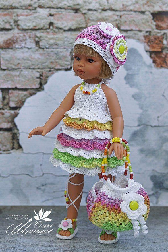 Платье с оборочками для куклы Паоло Рейна. | Мастерская вязаных работ Кузнецовой Юлии