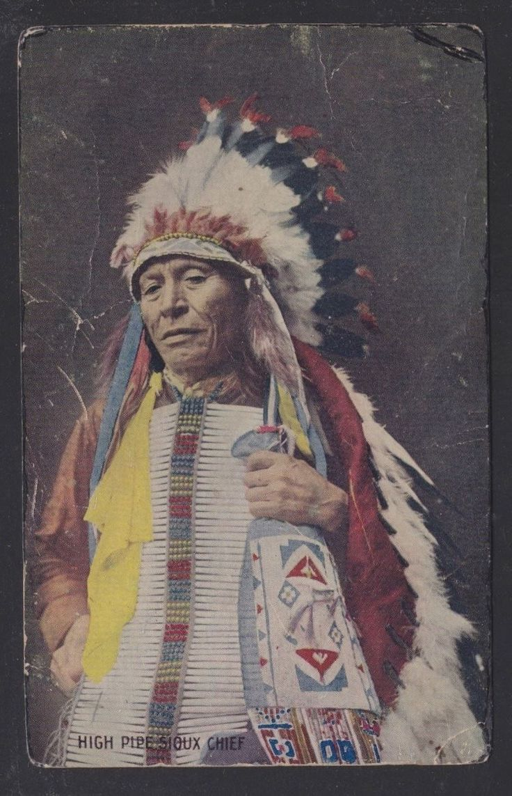 A Native American Map%0A USA      High Pipe Sioux Chief Native American Indian Postcard La Grange  Maine   eBay