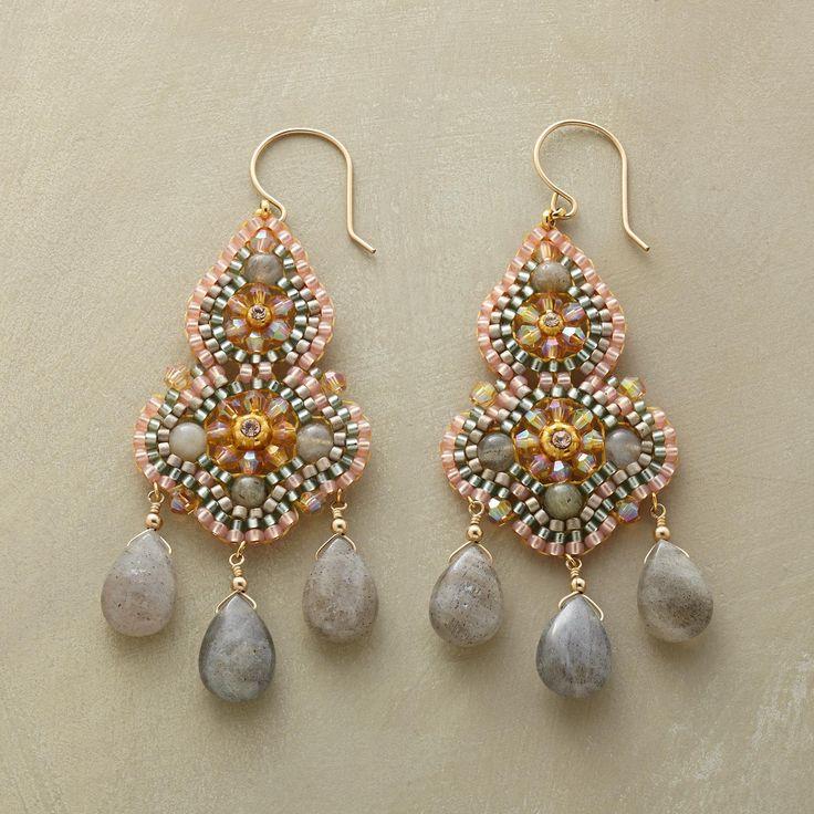PEACH PAVILION EARRINGS -- Sparkling Swarovski crystals and Japanese Miyuki  beads are intricately hand beaded