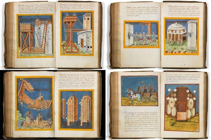 Иллюстрированная рукопись Роберто Valturio в  де - Ре Милитари , один из самых важных книг по военной технологии когда - либо созданных. Valturio написал свой трактат на варкрафт около 1590, служа в качестве инженера до Малатеста в Римини и стал стандартным пособием для полководцев эпохи Возрождения. Леонардо да Винчи был экземпляр и использовал его в то время как главный инженер Чезаре Борджиа, используя некоторые из конструкций содержащихся в нем. Богатые иллюстрации на страницах…