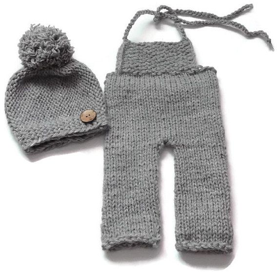Boy Sets Baby Boy Photo Prop , Photography Prop Sets - Boy Props newborn outfit set - Boys romper and hat set - Gray Overalls and pompom hat