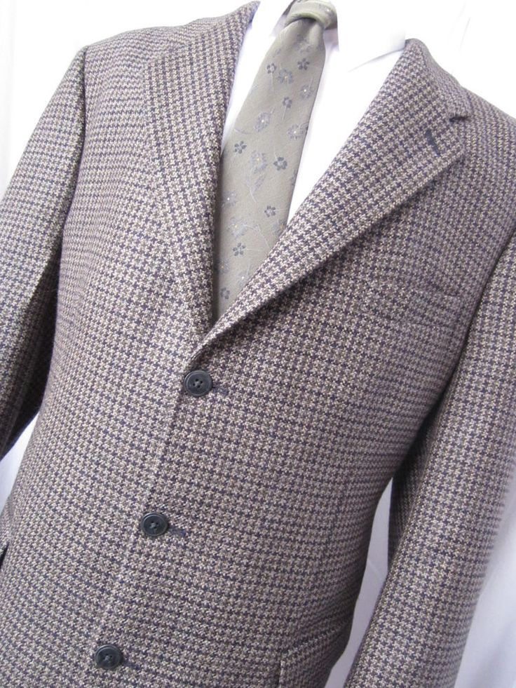 Jacket 46 Tall Tassi Wool Houndstooth Tweed Beige Sport Blazer Fit Mens Coat