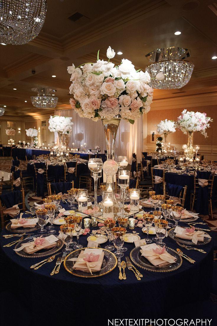 Tall Floral Centerpiece at Elegant Ballroom Reception | Photography: Next Exit Photography. Read More: http://www.insideweddings.com/biz/fairmont-miramar-hotel-bungalows-santa-monica/8789/
