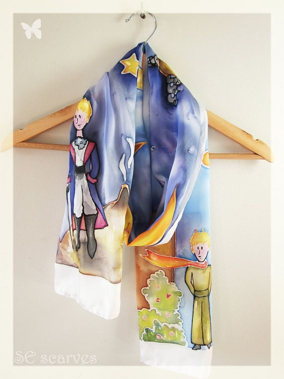 Hand painted scarf.Le Petit Prince. The little prince by SEscarves, €42.50