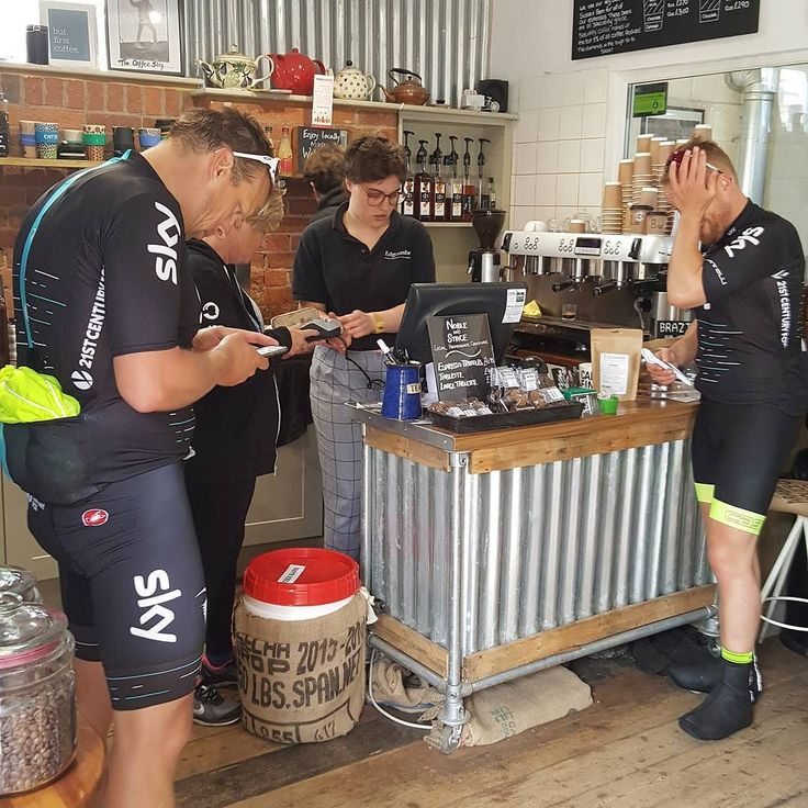 Phew! Pit stop at the Edgcumbes Roastery /café... We are going to need some cycle stands at this rate.. And perhaps a cycle shop. Any takers??