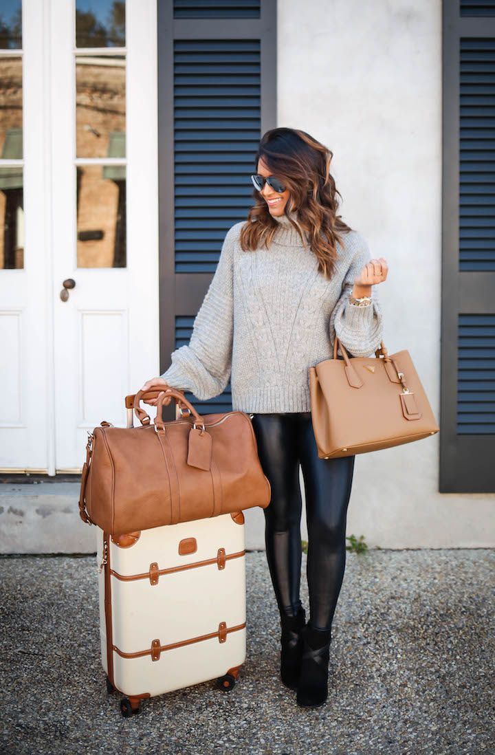"haute off the rack, faux leather leggings, cable turtleneck sweater, tessa block heel booties, payless booties, black booties, bric's 21"" carry on spinner, travel luggage, weekender bag, prada double bag, women's hangbag, women's fashion, holiday style, everyday style, travel outfit, brunette balayage hair"