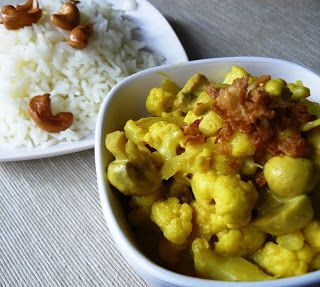 Bloemkool curry met kerrie en champignons