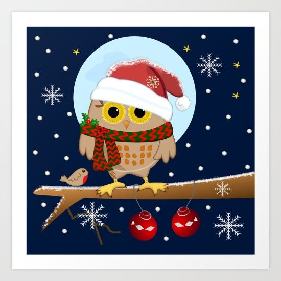 https://society6.com/product/owls-christmas-in-a-snowy-world_print?curator=bestreeartdesigns.  $16